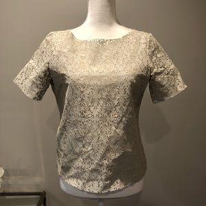 Zara Woman Beige Laser Cut Faux Leather Top, M